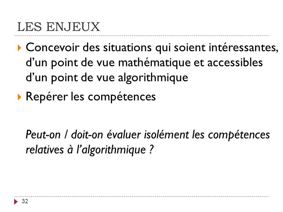 LES ENJEUX Concevoir des situations qui soient intéressantes, d'un point de vue mathématique et accessibles d'un point de vue algorithmique.