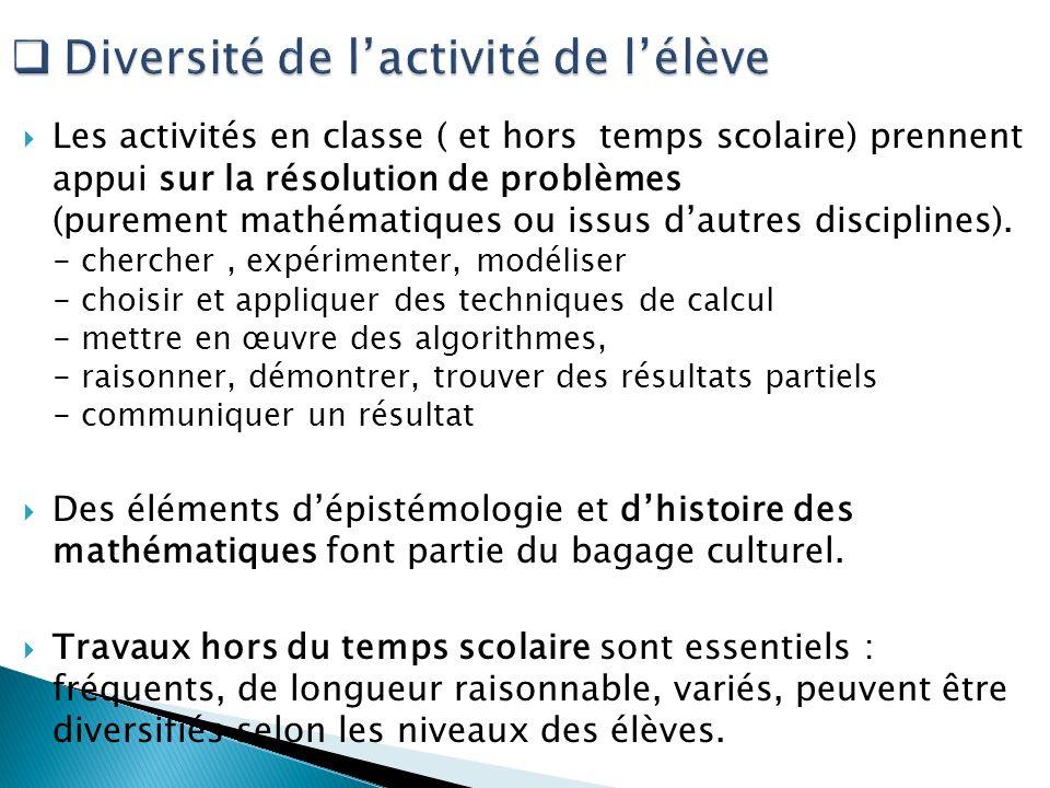 Diversité de l'activité de l'élève