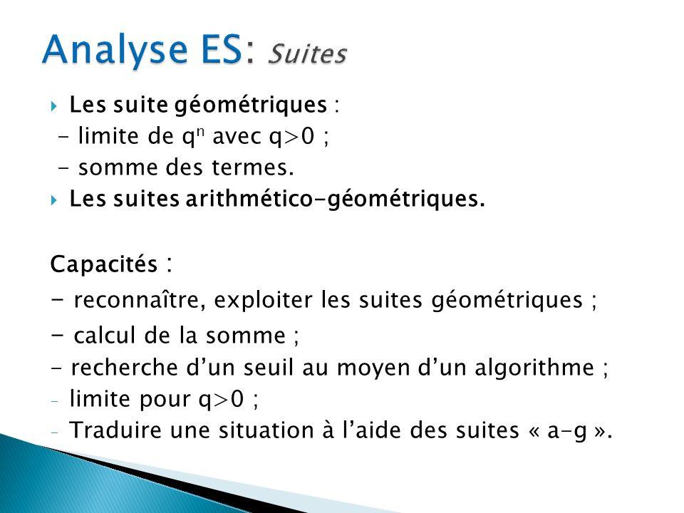 Analyse ES: Suites - reconnaître, exploiter les suites géométriques ;