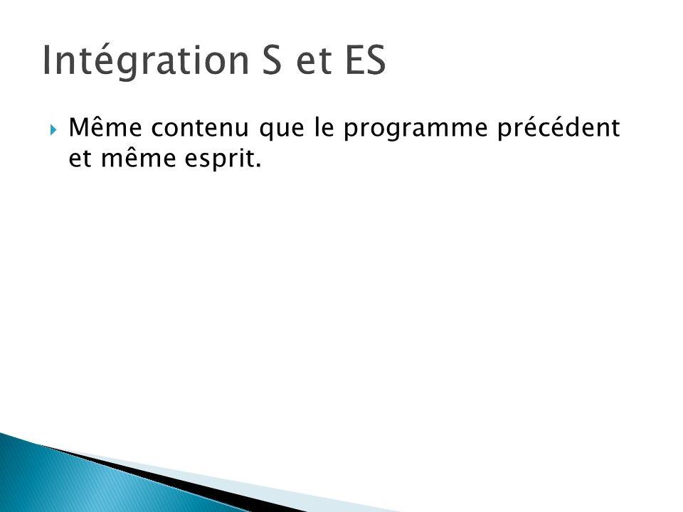 Intégration S et ES Même contenu que le programme précédent et même esprit.