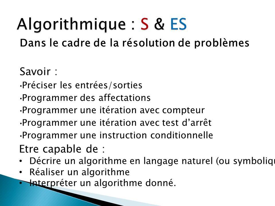 Algorithmique : S & ES Dans le cadre de la résolution de problèmes