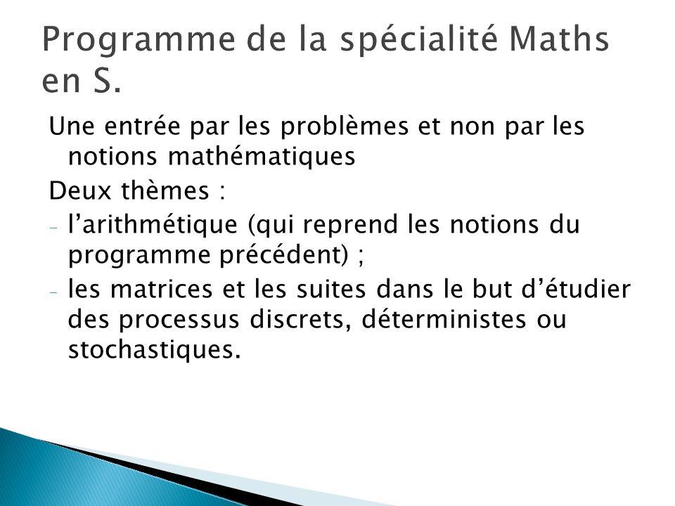 Programme de la spécialité Maths en S.
