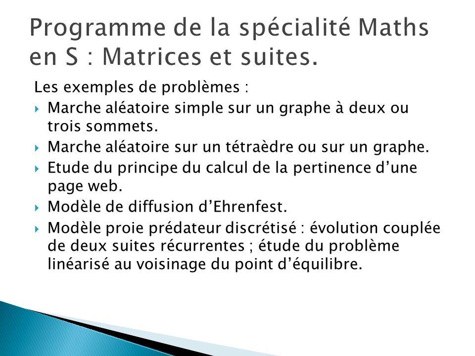 Programme de la spécialité Maths en S : Matrices et suites.