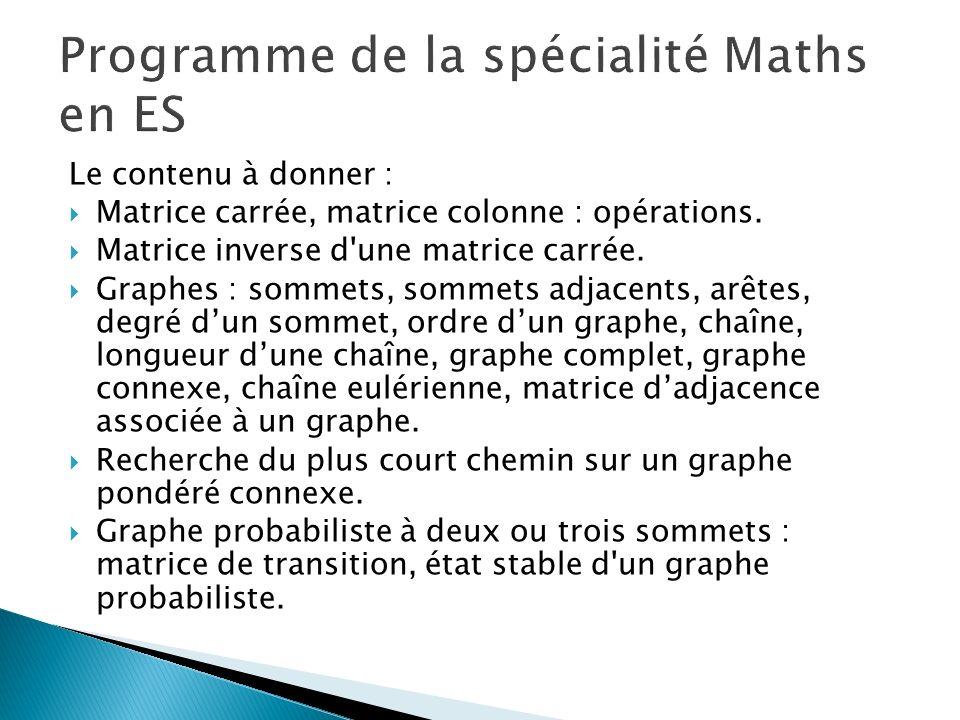 Programme de la spécialité Maths en ES