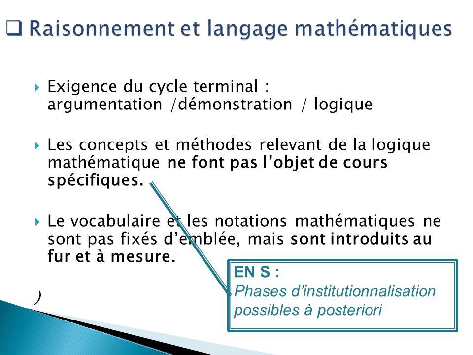 Raisonnement et langage mathématiques