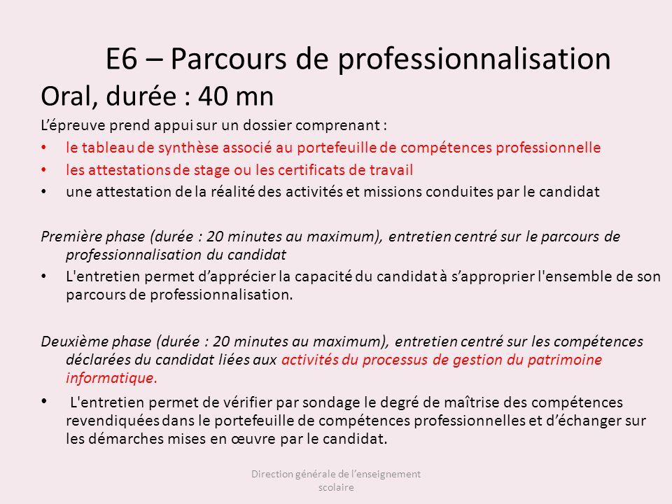 E6 – Parcours de professionnalisation