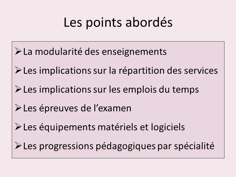 Les points abordés La modularité des enseignements