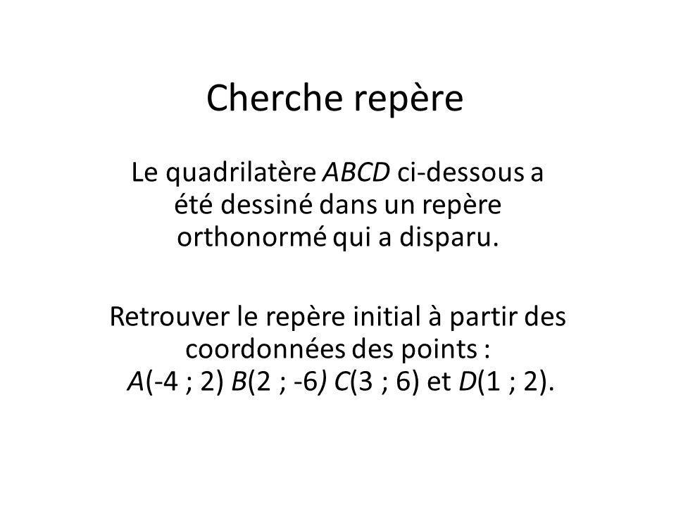 Cherche repère Le quadrilatère ABCD ci-dessous a été dessiné dans un repère orthonormé qui a disparu.