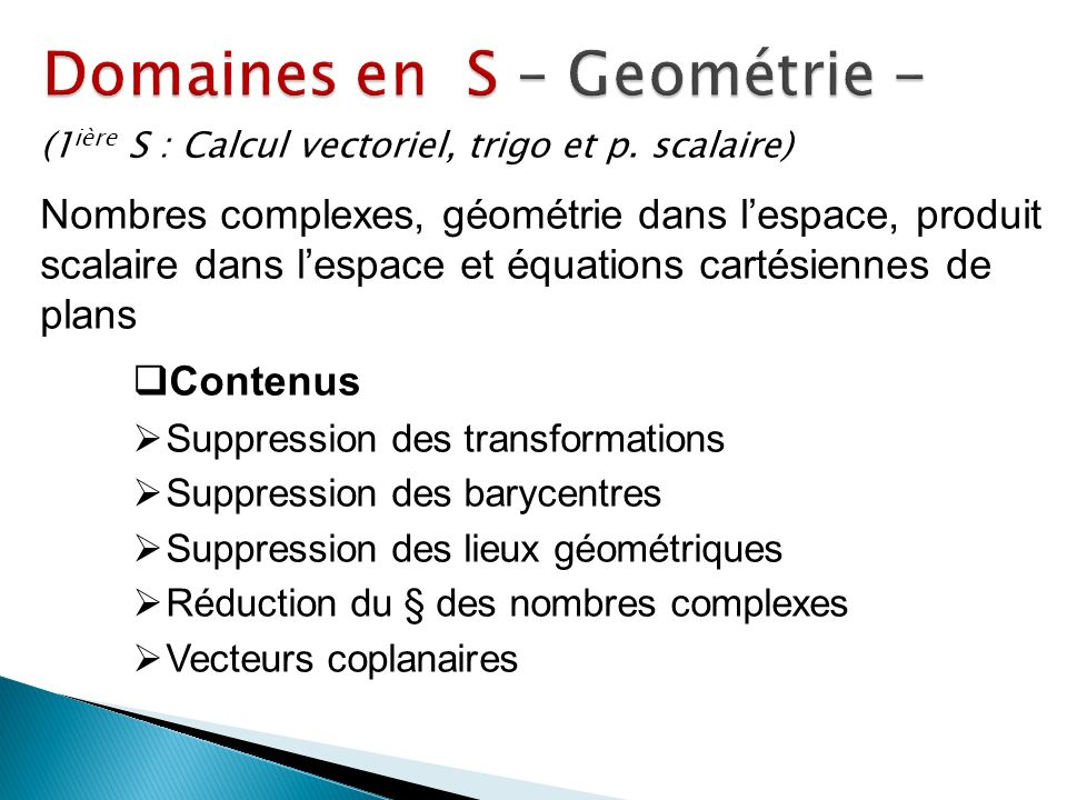 Domaines en S – Geométrie -