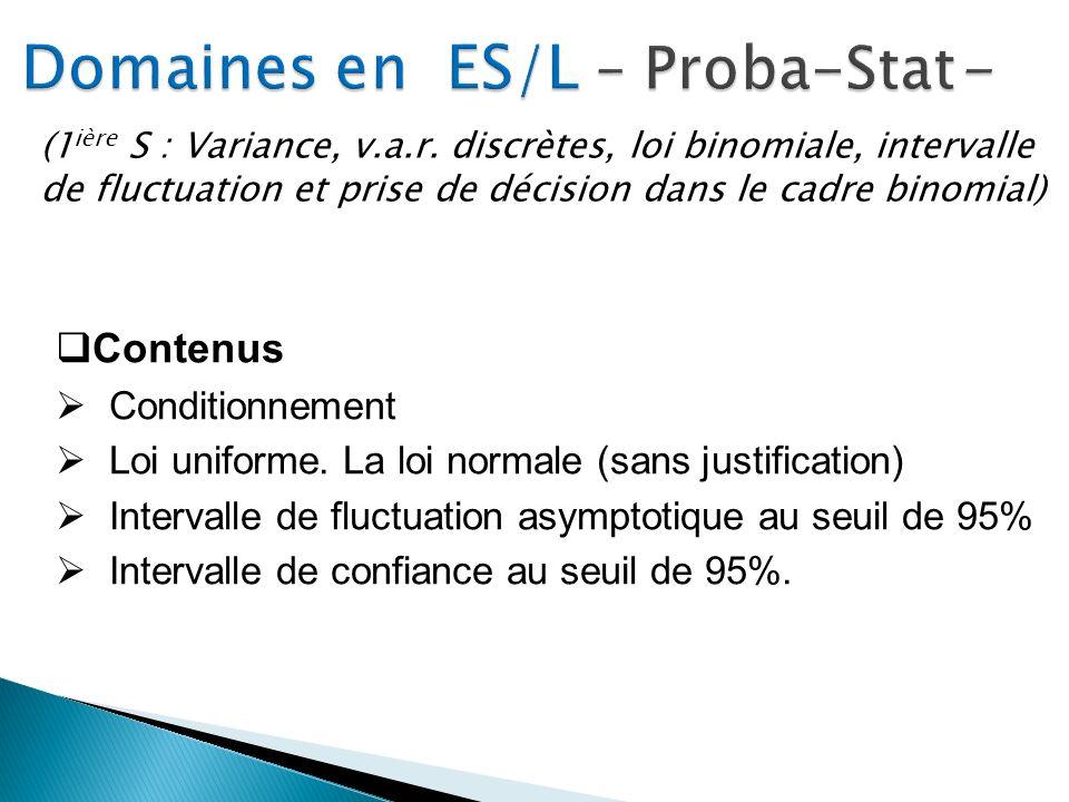 Domaines en ES/L – Proba-Stat-