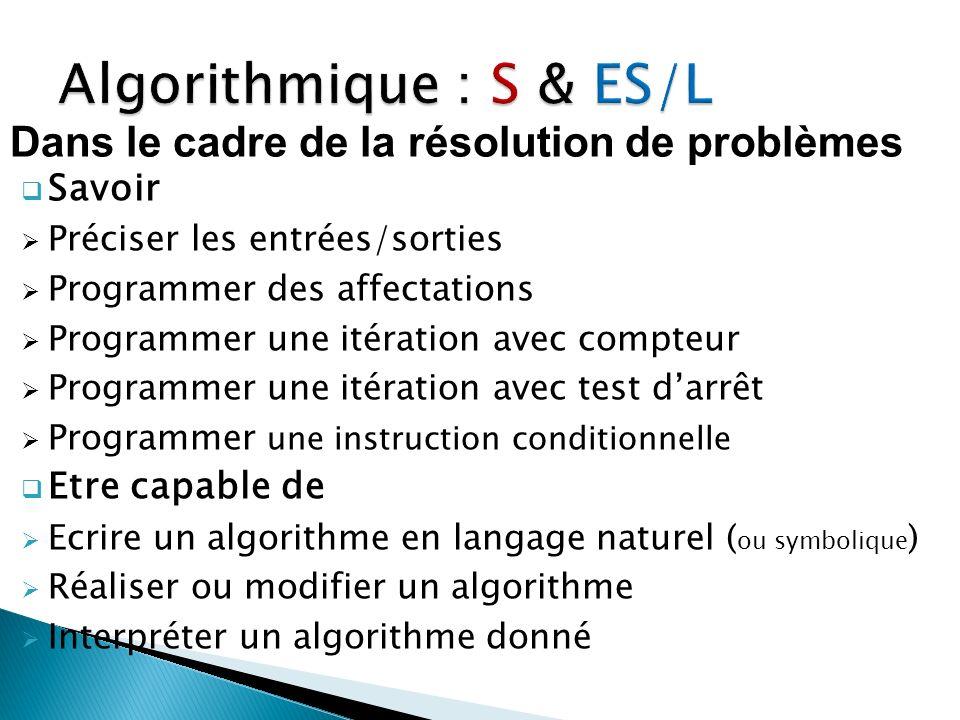 Algorithmique : S & ES/L