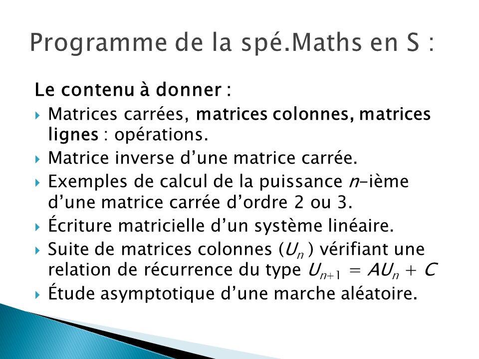 Programme de la spé.Maths en S :