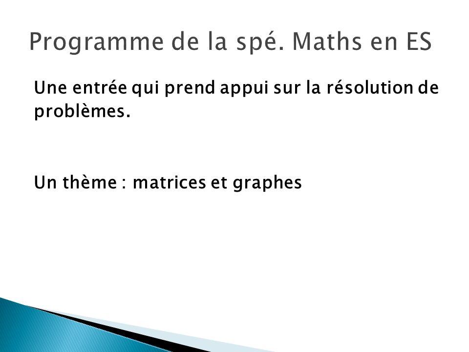 Programme de la spé. Maths en ES