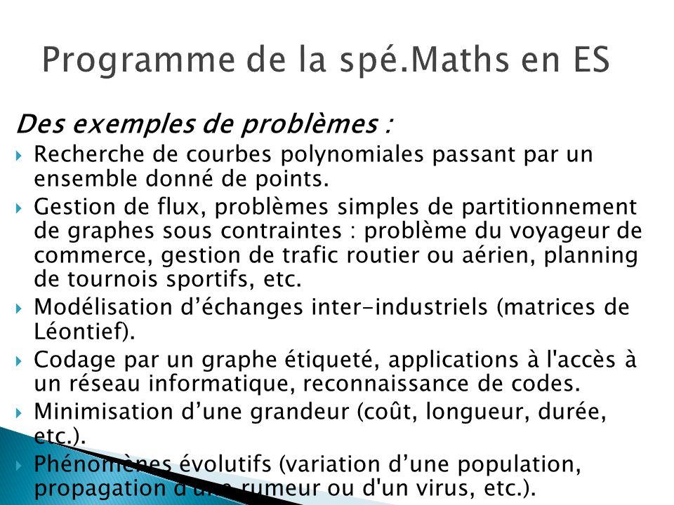 Programme de la spé.Maths en ES