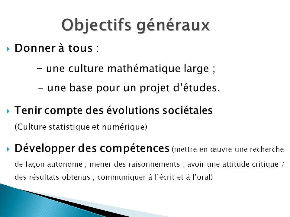 Objectifs générauxDonner à tous : - une culture mathématique large ; - une base pour un projet d'études.