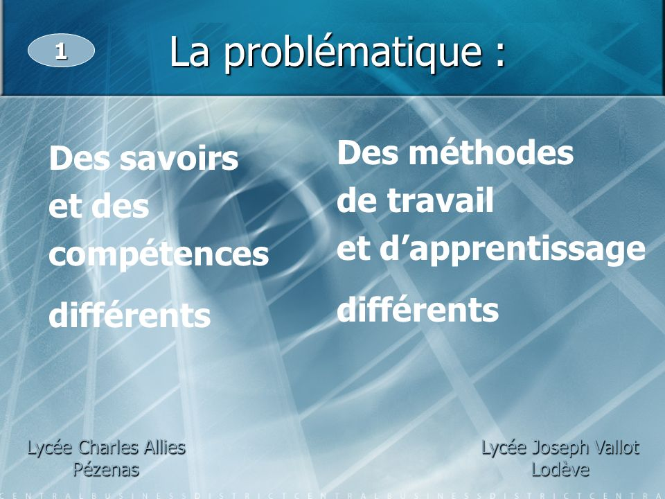 La problématique : Des méthodes Des savoirs de travail et des
