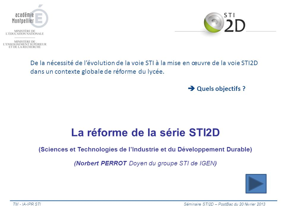 La réforme de la série STI2D