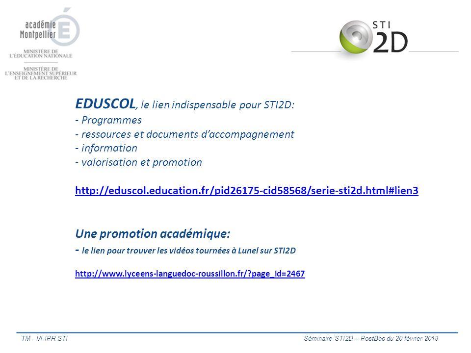 EDUSCOL, le lien indispensable pour STI2D: - Programmes - ressources et documents d'accompagnement - information - valorisation et promotion http://eduscol.education.fr/pid26175-cid58568/serie-sti2d.html#lien3 Une promotion académique: - le lien pour trouver les vidéos tournées à Lunel sur STI2D http://www.lyceens-languedoc-roussillon.fr/ page_id=2467