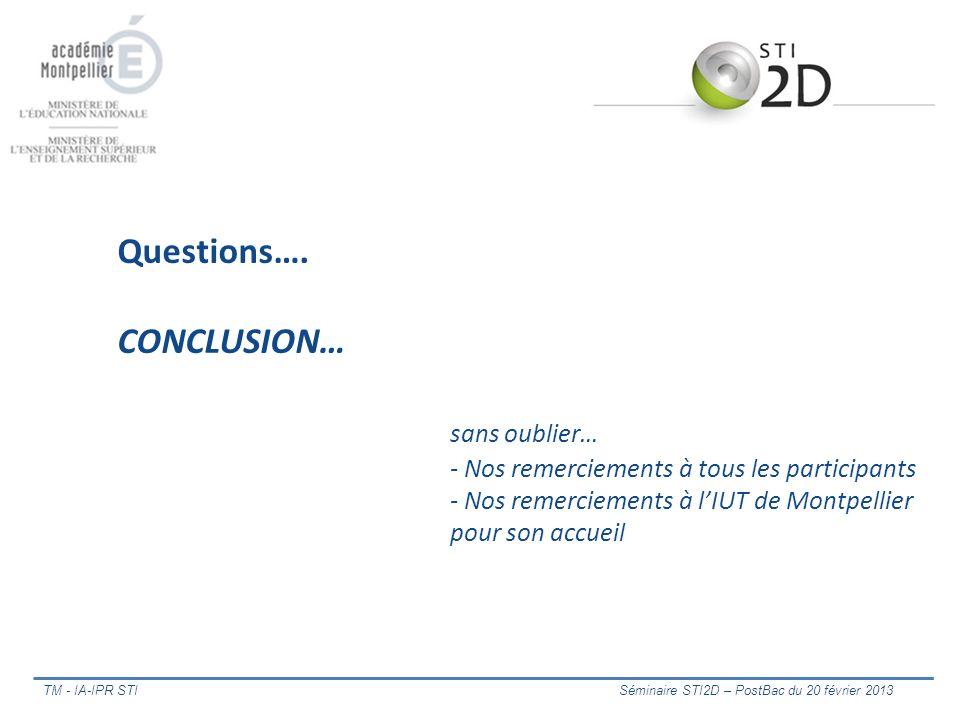 Questions…. CONCLUSION…. sans oublier…