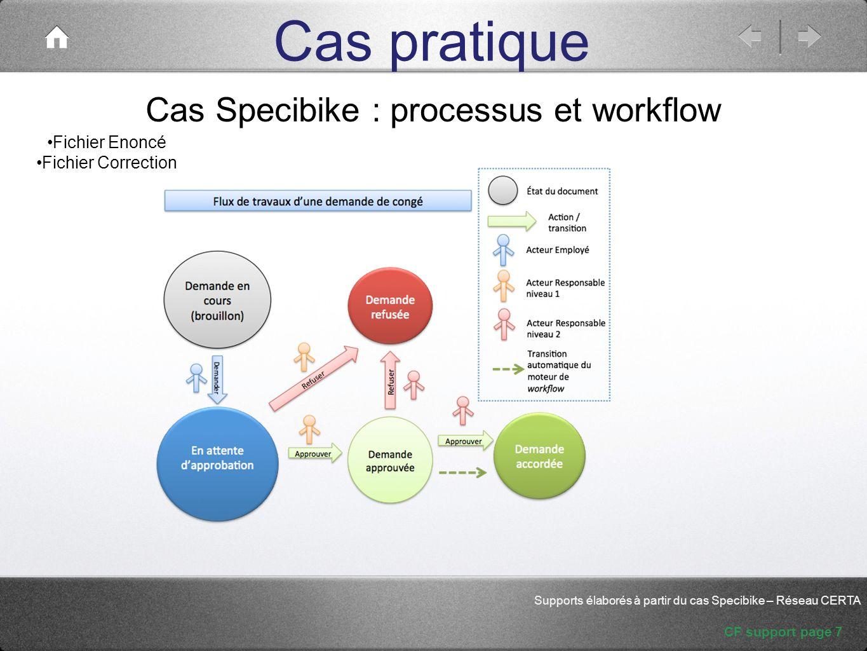 Cas Specibike : processus et workflow