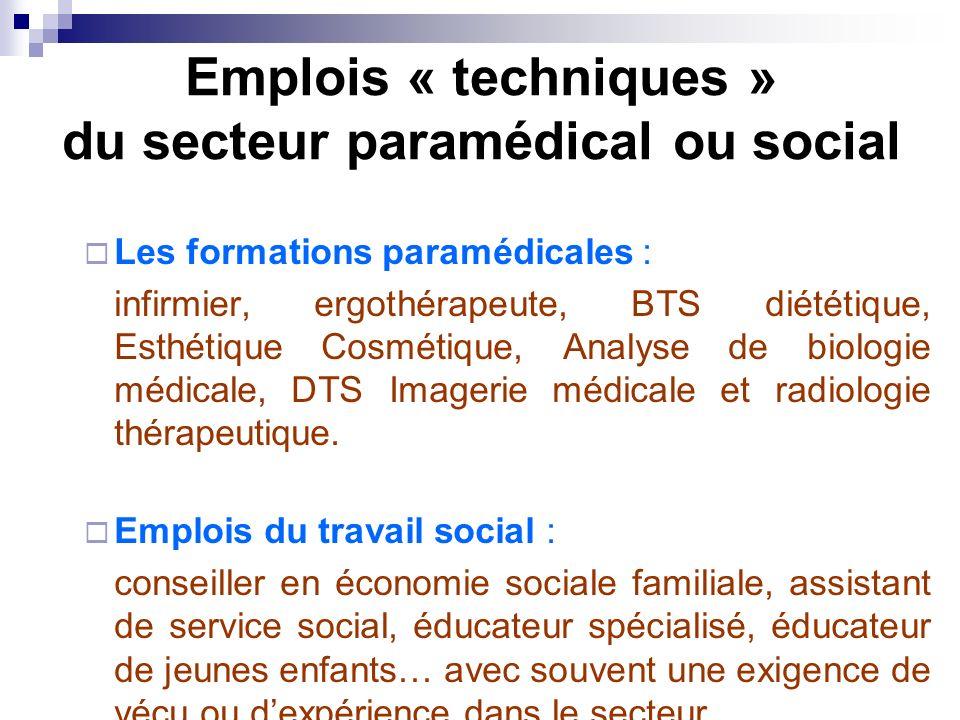 Emplois « techniques » du secteur paramédical ou social