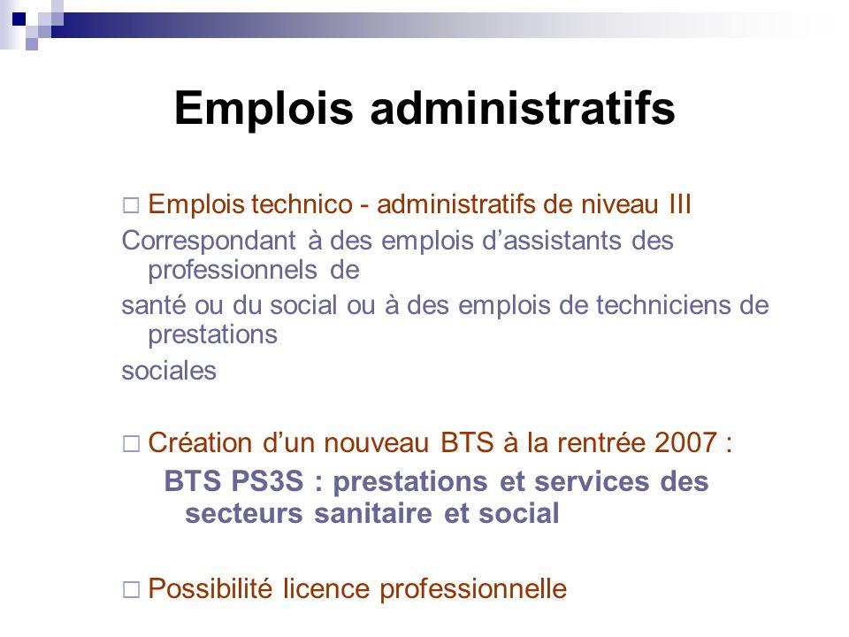 Emplois administratifs