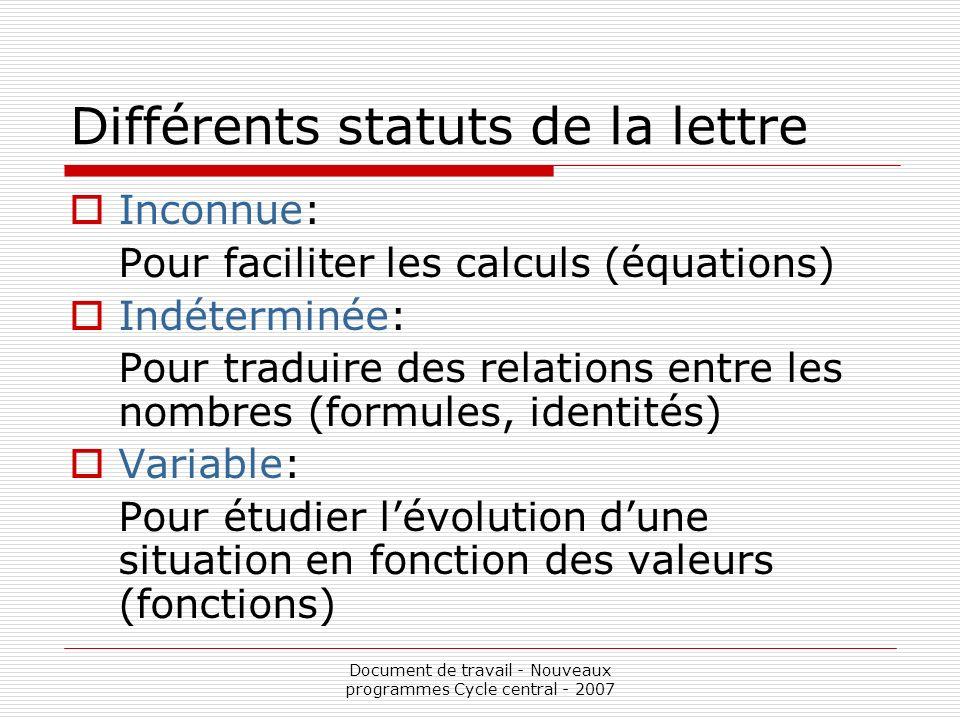 Différents statuts de la lettre
