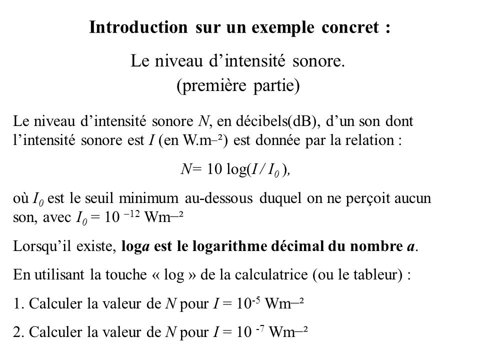 Introduction sur un exemple concret :