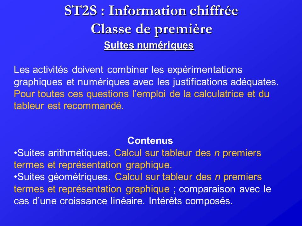 ST2S : Information chiffrée Classe de première