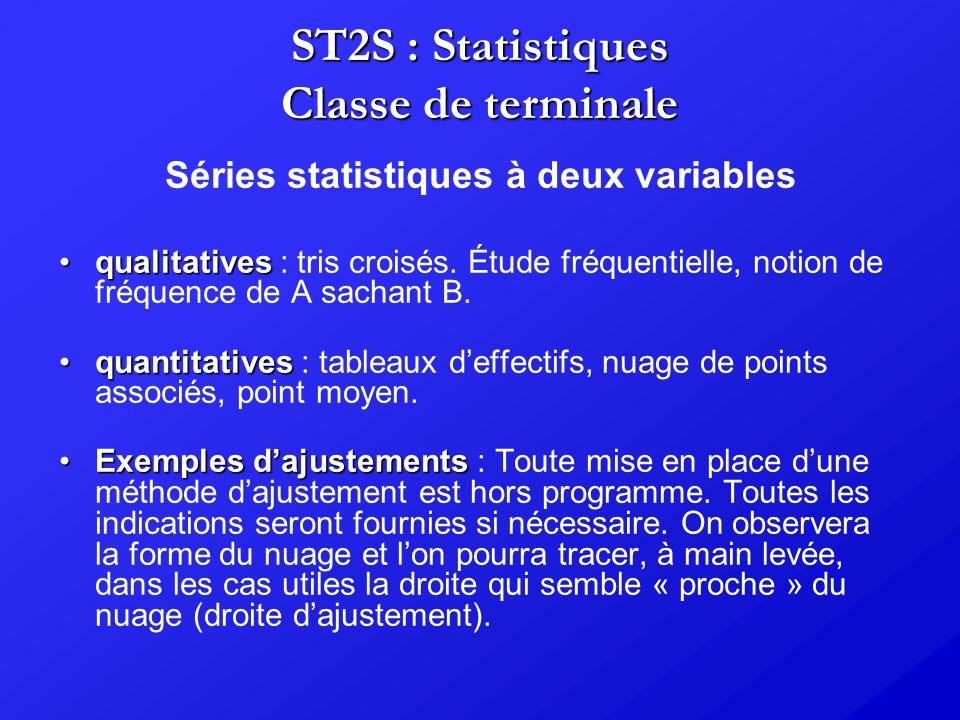 ST2S : Statistiques Classe de terminale