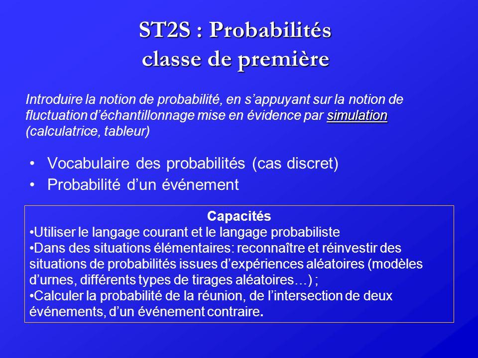 ST2S : Probabilités classe de première