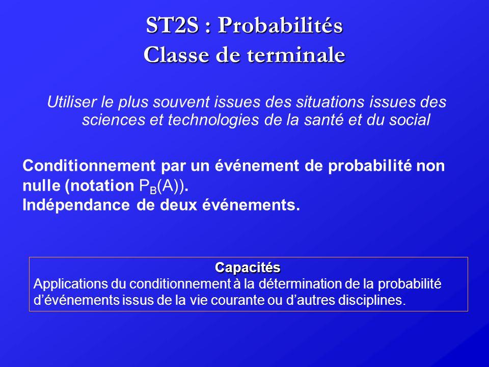 ST2S : Probabilités Classe de terminale