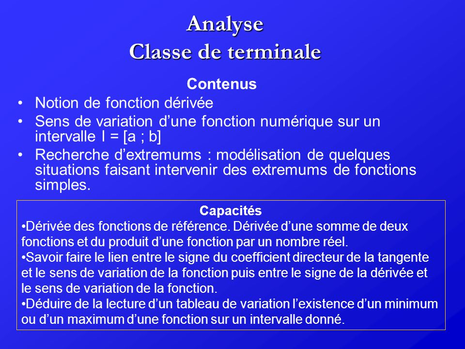 Analyse Classe de terminale