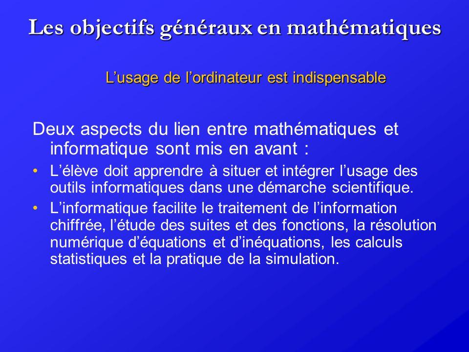 Les objectifs généraux en mathématiques
