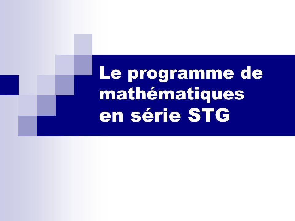 Le programme de mathématiques en série STG