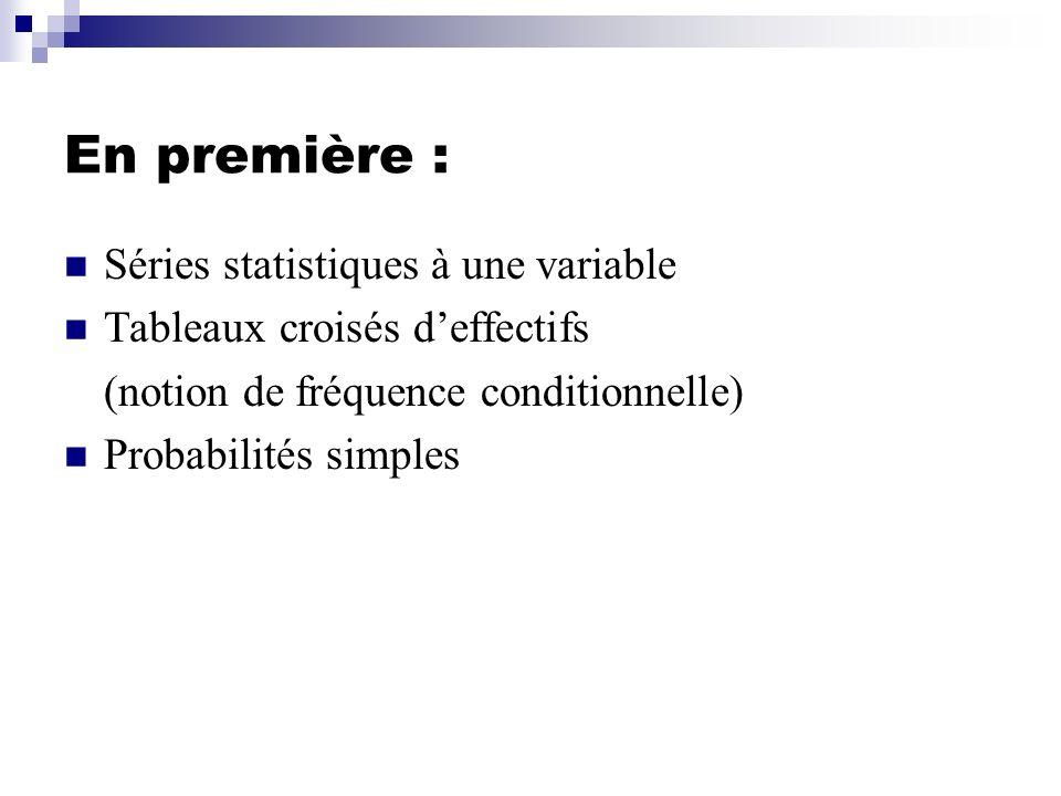 En première : Séries statistiques à une variable