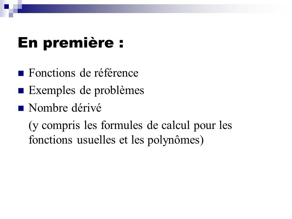 En première : Fonctions de référence Exemples de problèmes