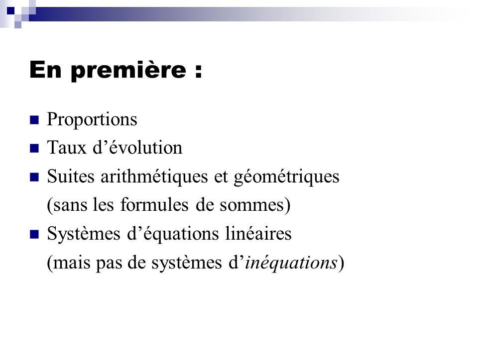En première : Proportions Taux d'évolution