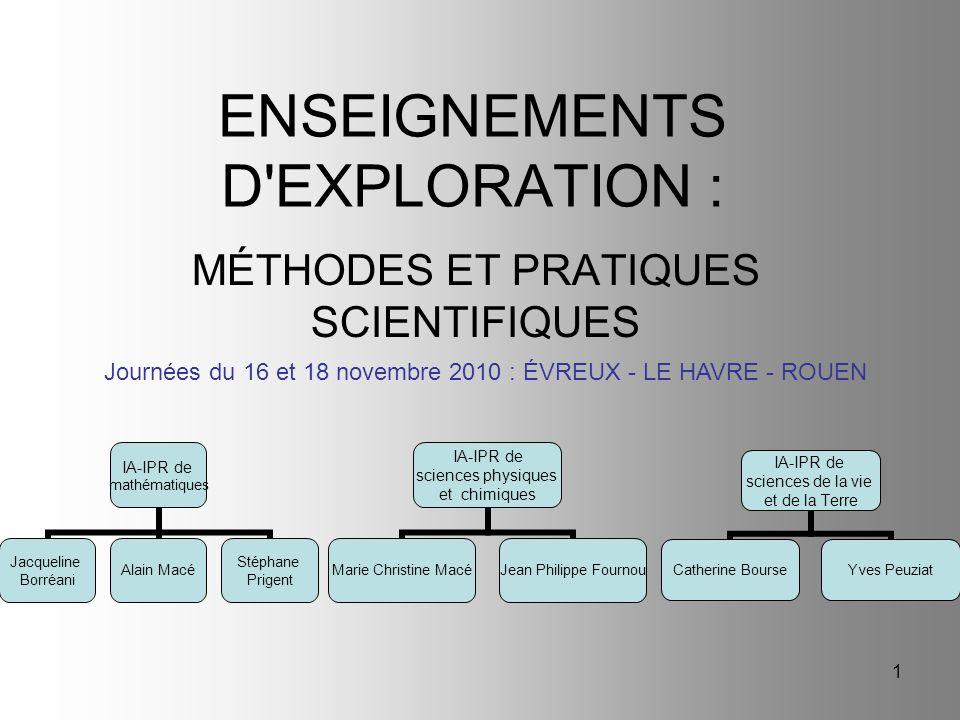 ENSEIGNEMENTS D EXPLORATION :
