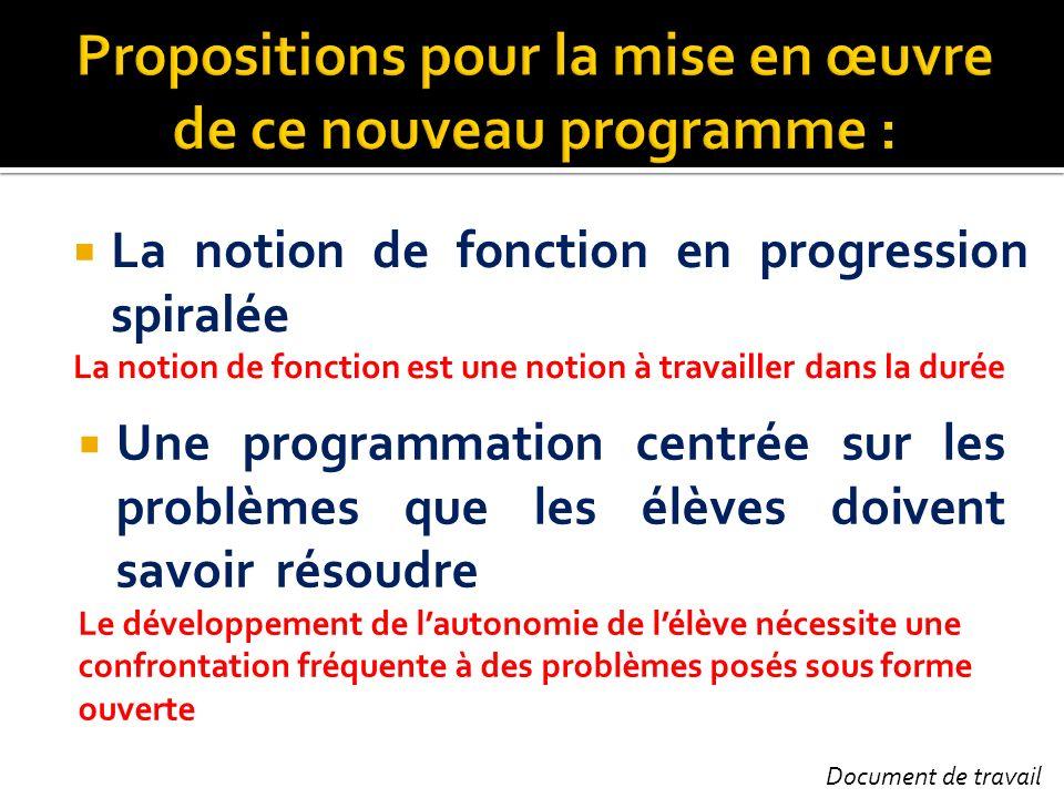 Propositions pour la mise en œuvre de ce nouveau programme :
