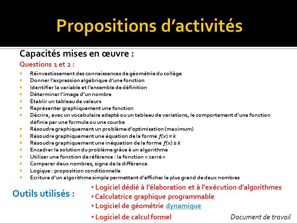 Propositions d'activités