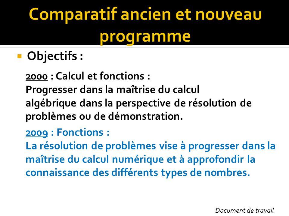 Comparatif ancien et nouveau programme