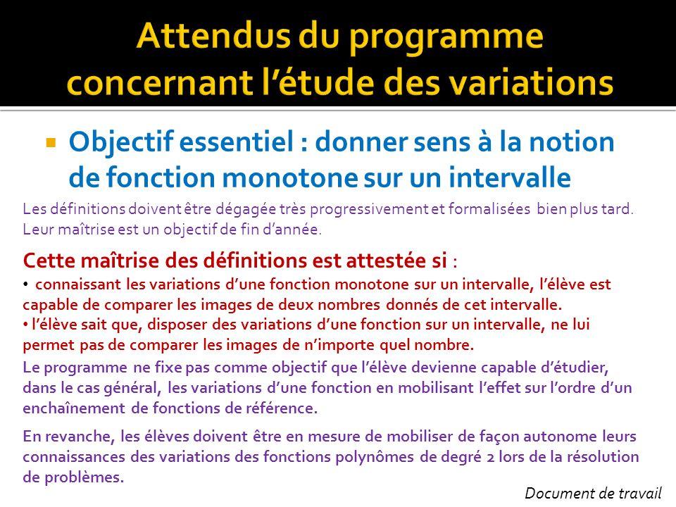 Attendus du programme concernant l'étude des variations