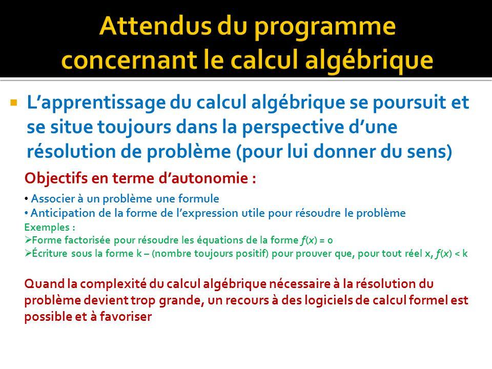 Attendus du programme concernant le calcul algébrique