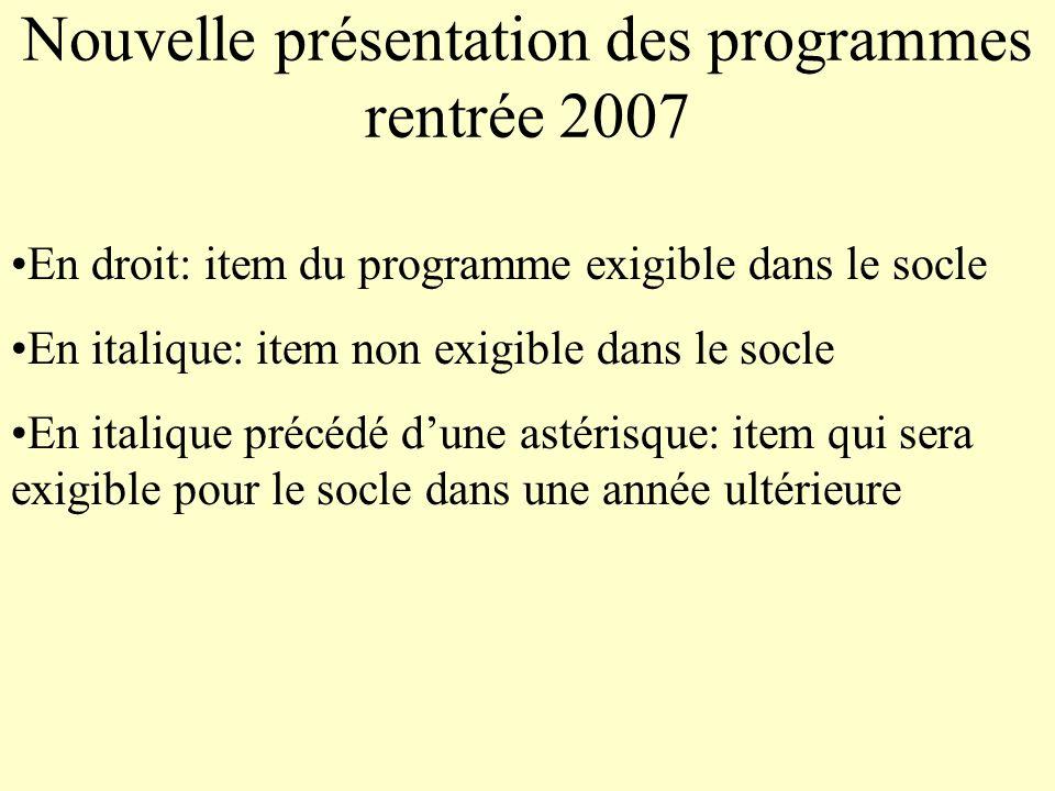 Nouvelle présentation des programmes rentrée 2007
