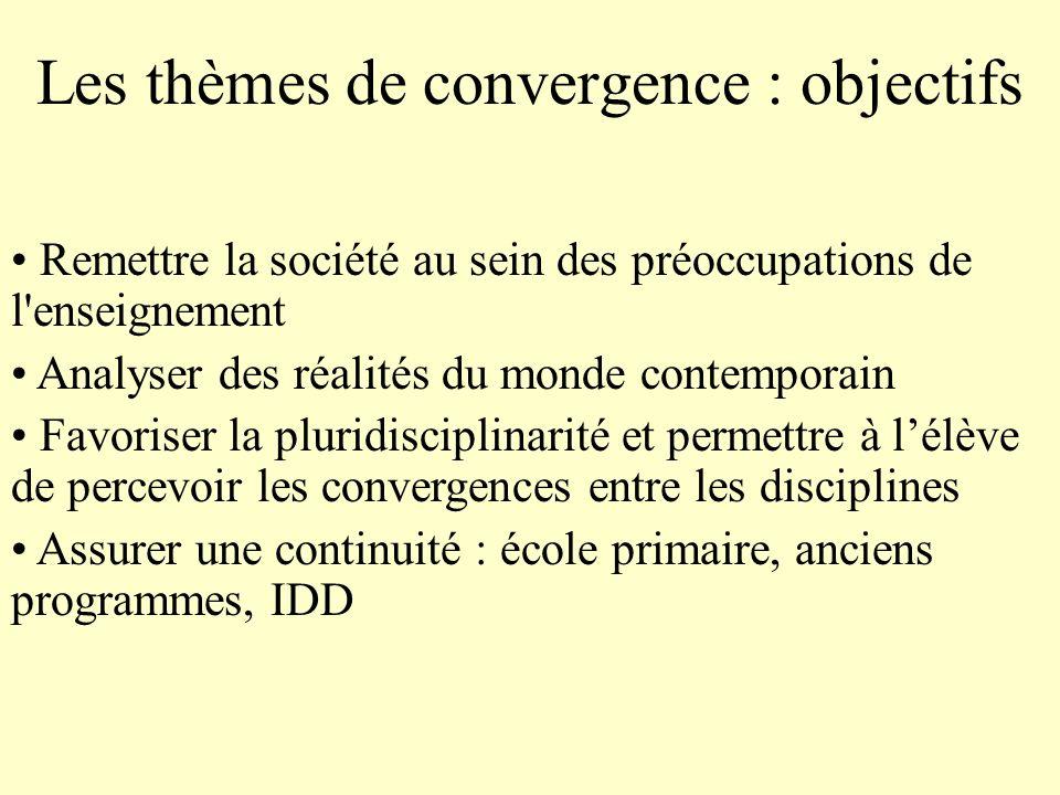Les thèmes de convergence : objectifs