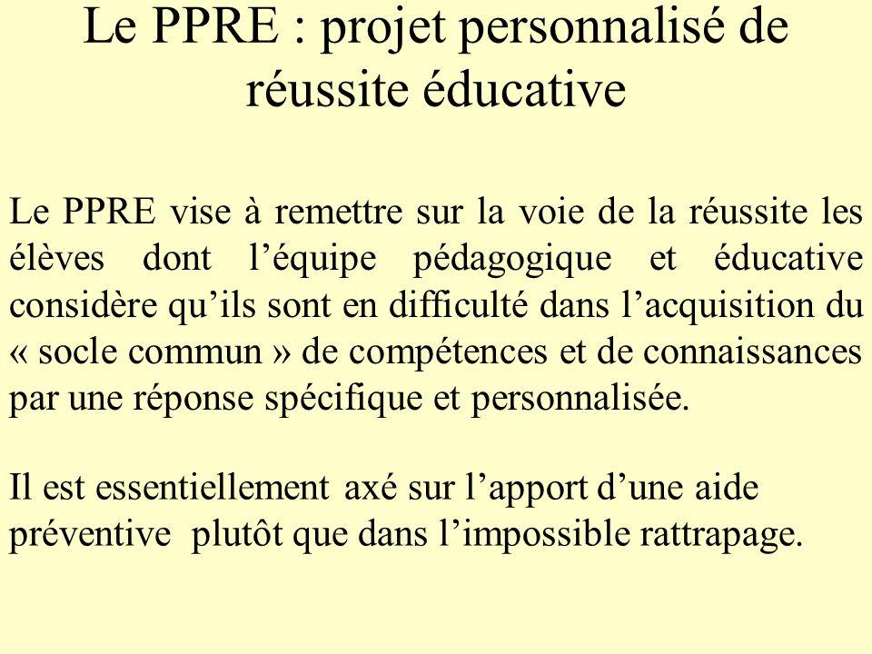 Le PPRE : projet personnalisé de réussite éducative
