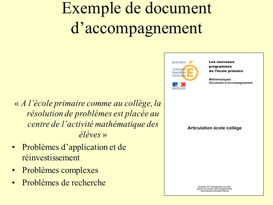 Exemple de document d'accompagnement