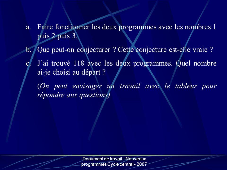 Document de travail - Nouveaux programmes Cycle central - 2007