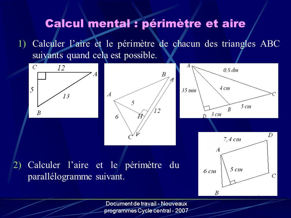 Calcul mental : périmètre et aire